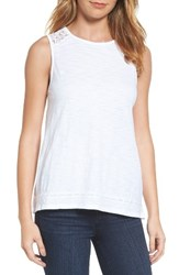 Press Women's Lace Yoke Knit Tank White Wash