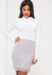 Missguided Purple Jersey Crepe Lace Mini Skirt Grey