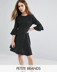 New Look Petite Polka Dot Fluted Sleeve Dress Black Pattern