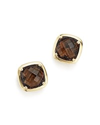 Bloomingdale's Smoky Quartz Stud Earrings In 14K Yellow Gold Brown Gold