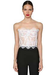 Dolce And Gabbana Chantilly Lace Bustier Top White