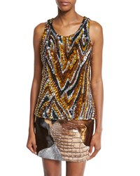 Tom Ford 3D Sequin Animal Print Tank Yellow Combo Combo Yellow