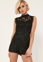 Missguided Black High Neck Sleeveless Lace Playsuit