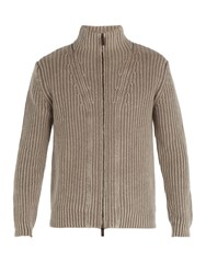 Iris Von Arnim Lucas High Neck Zip Through Cashmere Cardigan Light Brown