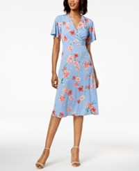 Jessica Howard Petite Surplice A Line Dress Blue Multi