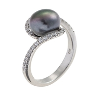 A B Davis Pearl And Cubic Zirconia Twist Ring Black
