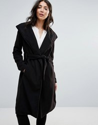 Brave Soul Long Belted Coat Black Dtm Lining