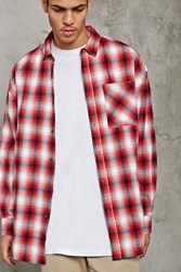 Forever 21 Slim Fit Flannel Longline Shirt Red Black