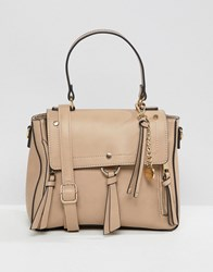 Aldo Gadossi Camel Tote Bag With Ring And Tassel Detailing Beige
