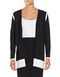 Rafaella Petite Colorblock Open Front Cardigan Grey