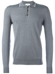 Salvatore Ferragamo Button Up Long Sleeved Polo Grey