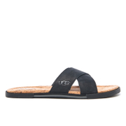 Ugg Men's Ithan Cork Double Strap Leather Slide Sandals Black