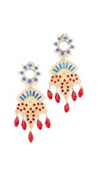 Mercedes Salazar Petite Fiesta Clip On Earrings Gold Blue Red