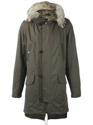 Yves Salomon Homme Coyote Fur Trimmed Parka Green