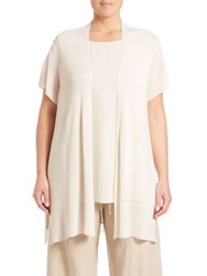 Eileen Fisher Plus Size Cap Sleeve Cardigan Bone