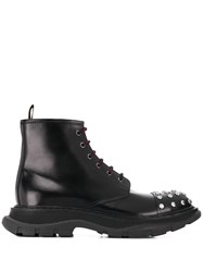 Alexander Mcqueen Studded Lace Up Boots Black