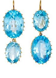 Renee Lewis Women's Mismatched Topaz Double Drop Earrings Colorless