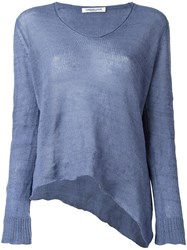 Lamberto Losani V Neck Knitted Blouse Blue