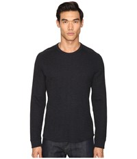 Vince Raw Edge Long Sleeve Crew Neck Heather Manhattan Navy