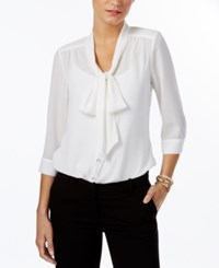 Ny Collection Petite Tie Neck Bow Blouse Atlas Ivory