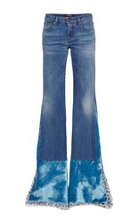 Roberto Cavalli Velvet Detailed Flared Jeans Blue