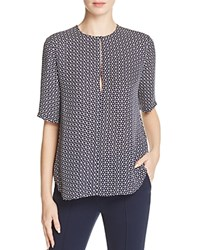 Theory Antazie Tile Print Silk Blouse Deep Navy Ivory