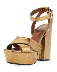 Saint Laurent Farrah Crackled Metallic Leather Platform Sandal Bronze