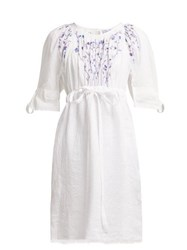 Thierry Colson Tatiana Floral Embroidered Cotton Dress White Navy
