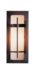 Hubbardton Forge Banded Small Outdoor Sconce Incandescent Dark Smoke Opal Gray