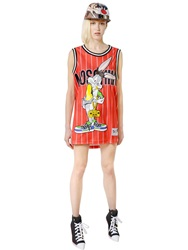 Moschino Bugs Bunny Printed Mesh Dress Red Multi