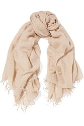 Chan Luu Polka Dot Cashmere And Silk Blend Scarf Beige