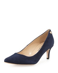 Neiman Marcus Stroll Low Heel Point Toe Pump Navy