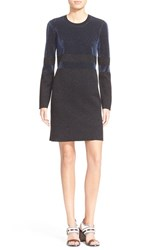 Women's Tory Burch Metallic Stripe Long Sleeve Wool Sheath Dress