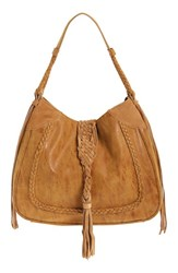 Sole Society 'Vail' Braided Trim Faux Suede Shoulder Bag Brown Camel