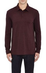 Z Zegna Long Sleeve Polo Shirt Red