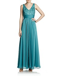 Adrianna Papell Lace Chiffon Empire Gown And Shrug Eucalyptus