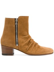 Amiri Stacked Ankle Boots Brown