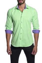 Jared Lang Long Sleeve Striped Semi Fitted Shirt Green