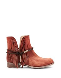 Matisse Voyager Leather Fringe Ankle Boots Rust