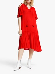 And Or Decca Ruffle Detail Midi Dress Red