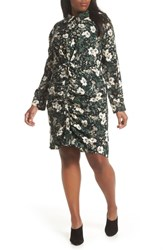 Everleigh Shirred Knot Front Shirtdress Black Ivory Floral
