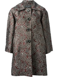 Dolce And Gabbana Floral Jacquard Peacoat Pink And Purple