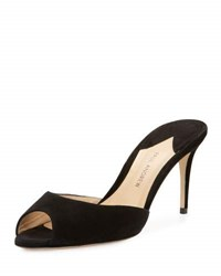 Paul Andrew Aristata 75Mm Suede Peep Toe Mule Black