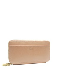 Tusk Madison Saffiano Leather Double Zip Clutch Caramel