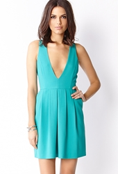 Forever 21 Plunging V Neckline Dress Jade