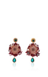 Dolce And Gabbana Flower Drop Earrings Pink White Blue