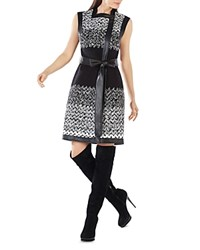 Bcbgmaxazria Faux Leather Trim Printed Dress White Combo Multi