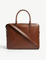 Sandro Downtown Pebbled Leather Briefcase Cognac