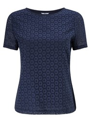 Dash Navy Broidery Top
