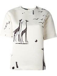 Rochas Giraffe Print Boxy Top Nude And Neutrals